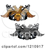 Clipart Of Grayscale And Golden Double Headed Eagles And Crossed Anchors Royalty Free Vector Illustration
