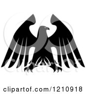 Clipart Of A Black And White Heraldic Eagle 12 Royalty Free Vector Illustration