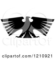 Clipart Of A Black And White Heraldic Eagle 9 Royalty Free Vector Illustration