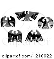 Clipart Of Black And White Heraldic Eagles 3 Royalty Free Vector Illustration