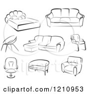 Clipart Of Black And White Sketches Of Furniture Royalty Free Vector Illustration
