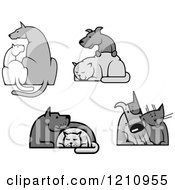 Clipart Of Grayscale Dogs And Cats Royalty Free Vector Illustration by Vector Tradition SM