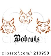Clipart Of Brown Bobcat Faces And Text Royalty Free Vector Illustration by Vector Tradition SM