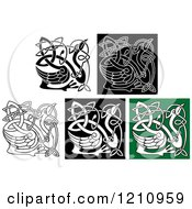 Clipart Of Celtic Heron Or Stork Knots 4 Royalty Free Vector Illustration