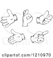 Clipart Of Black And White Gloved Hand Gestures 2 Royalty Free Vector Illustration