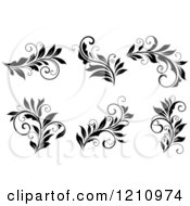Clipart Of Black And White Flourish Designs 2 Royalty Free Vector Illustration