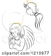 Clipart Of Black And White Angel Girls With Golden Halos Royalty Free Vector Illustration