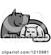 Clipart Of A Grayscale Dog And Cat Cuddling Royalty Free Vector Illustration by Vector Tradition SM