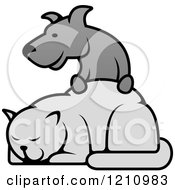 Clipart Of A Grayscale Dog Resting His Paws On A Cat Royalty Free Vector Illustration by Vector Tradition SM
