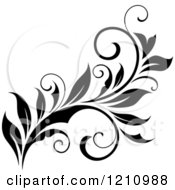 Clipart Of A Black And White Flourish Design 11 Royalty Free Vector Illustration