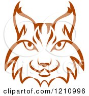 Clipart Of A Brown Bobcat Face Royalty Free Vector Illustration by Vector Tradition SM