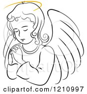 Clipart Of A Black And White Praying Angel Girl With A Golden Halo Royalty Free Vector Illustration