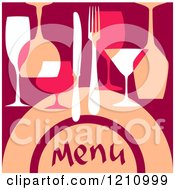 Clipart Of A Menu Cover With Cutlery And Glasses Royalty Free Vector Illustration