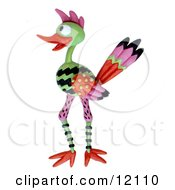 Clay Sculpture Of Road Runner With Bright Patterns Looking To The Side Clipart Picture