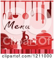 Clipart Of A Red Menu Design With Utensils Royalty Free Vector Illustration