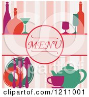 Clipart Of A Menu Cover With Stripes Royalty Free Vector Illustration