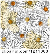 Clipart Of A Seamless Yellow And White Daisy Flower Pattern Royalty Free Vector Illustration