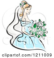 Clipart Of A Pretty Bride In A Blue Gown Royalty Free Vector Illustration