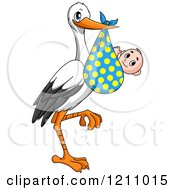 Clipart Of A Stork Bird With A Baby In A Polka Dot Bundle Royalty Free Vector Illustration