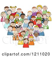 Clipart Of A Heart Made Of Diverse Children 3 Royalty Free Vector Illustration
