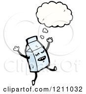 Cartoon Of A Milk Container Thinking Royalty Free Vector Illustration
