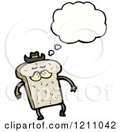 Cartoon Of A Bread Slice Thinking Royalty Free Vector Illustration by lineartestpilot
