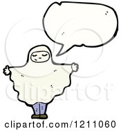 Cartoon Of A Child In A Ghost Costume Speaking Royalty Free Vector Illustration by lineartestpilot