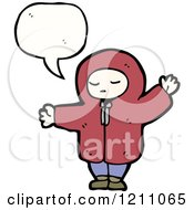 Cartoon Of A Child In A Hoodie Speaking Royalty Free Vector Illustration