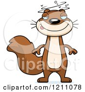 Cartoon Of A Drunk Slim Squirrel Royalty Free Vector Clipart