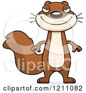 Cartoon Of A Sly Slim Squirrel Royalty Free Vector Clipart