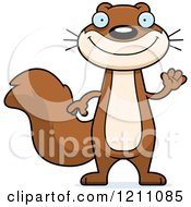 Cartoon Of A Waving Slim Squirrel Royalty Free Vector Clipart by Cory Thoman