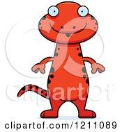 Cartoon Of A Surprised Slim Red Salamander Royalty Free Vector Clipart