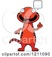 Cartoon Of A Talking Slim Red Salamander Royalty Free Vector Clipart