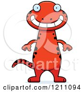Cartoon Of A Grinning Slim Red Salamander Royalty Free Vector Clipart