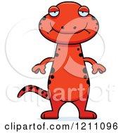 Cartoon Of A Depressed Slim Red Salamander Royalty Free Vector Clipart
