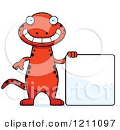 Cartoon Of A Happy Slim Red Salamander With A Sign Royalty Free Vector Clipart
