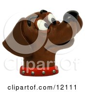 Clay Sculpture Of Chocolate Lab Sniffing He Air Clipart Picture