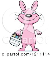 Cartoon Of A Sly Slim Pink Easter Bunny Royalty Free Vector Clipart