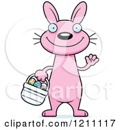 Cartoon Of A Waving Slim Pink Easter Bunny Royalty Free Vector Clipart