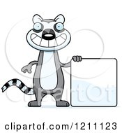Cartoon Of A Happy Slim Lemur With A Sign Royalty Free Vector Clipart by Cory Thoman
