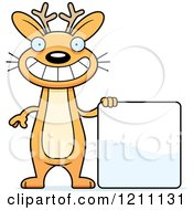Cartoon Of A Happy Slim Jackalope With A Sign Royalty Free Vector Clipart