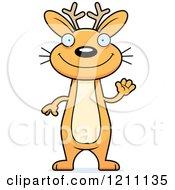Cartoon Of A Waving Slim Jackalope Royalty Free Vector Clipart