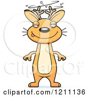 Cartoon Of A Drunk Slim Jackalope Royalty Free Vector Clipart