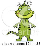 Cartoon Of A Drunk Slim Iguana Royalty Free Vector Clipart