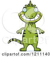 Cartoon Of A Grinning Slim Iguana Royalty Free Vector Clipart