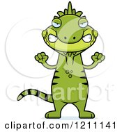 Cartoon Of A Mad Slim Iguana Royalty Free Vector Clipart by Cory Thoman