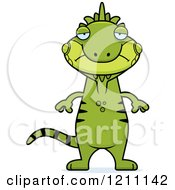 Cartoon Of A Depressed Slim Iguana Royalty Free Vector Clipart by Cory Thoman