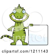 Cartoon Of A Happy Slim Iguana With A Sign Royalty Free Vector Clipart by Cory Thoman
