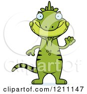 Cartoon Of A Waving Slim Iguana Royalty Free Vector Clipart by Cory Thoman