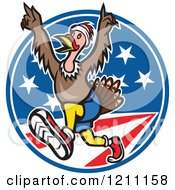 Clipart Of A Turkey Trot Runner With His Arms Up Over American Stars And Stripes Royalty Free Vector Illustration